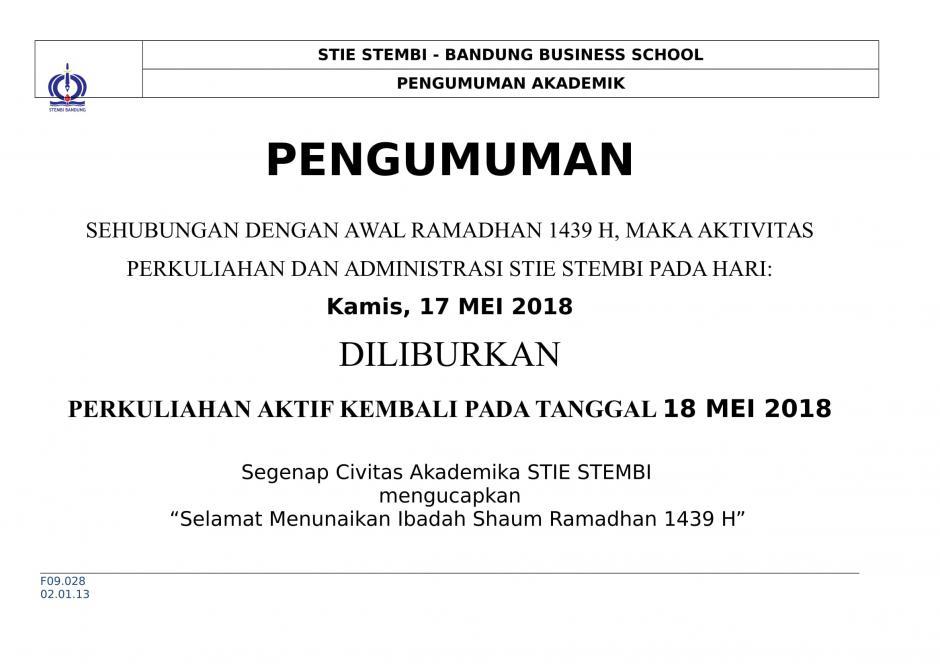 Pengumuman Libur Hari Pertama Bulan Ramadhan 1439 H